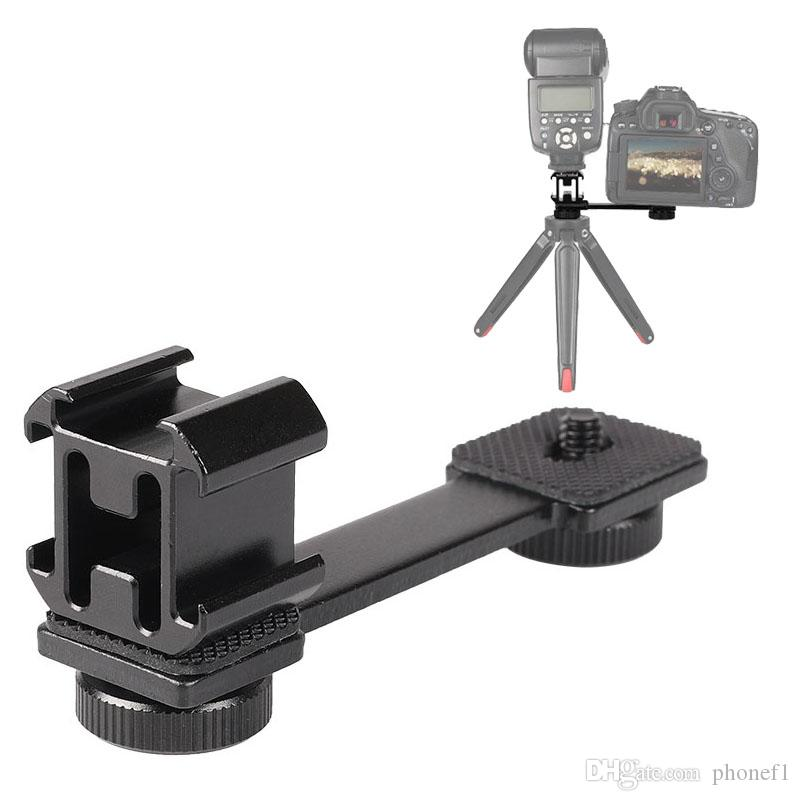 """Triple Cold Shoe Mount 1/4""""-20 Tripod Screw LED Video Light Extension Stand Bracket Gimbal Stabilizer Microphone Stand Rig Bracket Compatibl"""