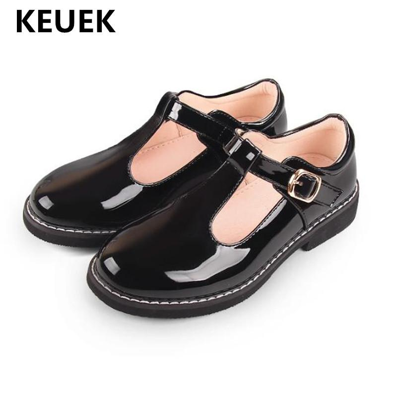 Новая весна / осень на низком каблуке танцевальная обувь для детей лакированная кожа мода принцесса девушки малыша дети кожаные ботинки 041