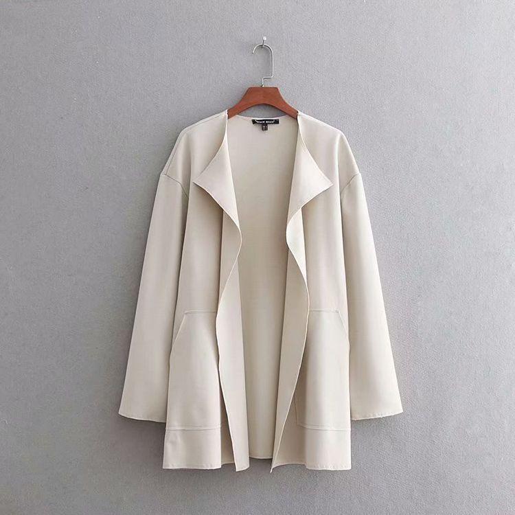 Mid-length allentato-Fit Versatile Leggero cappotto solido colore del cappotto di autunno di stile New Western svago Solidi Urbani