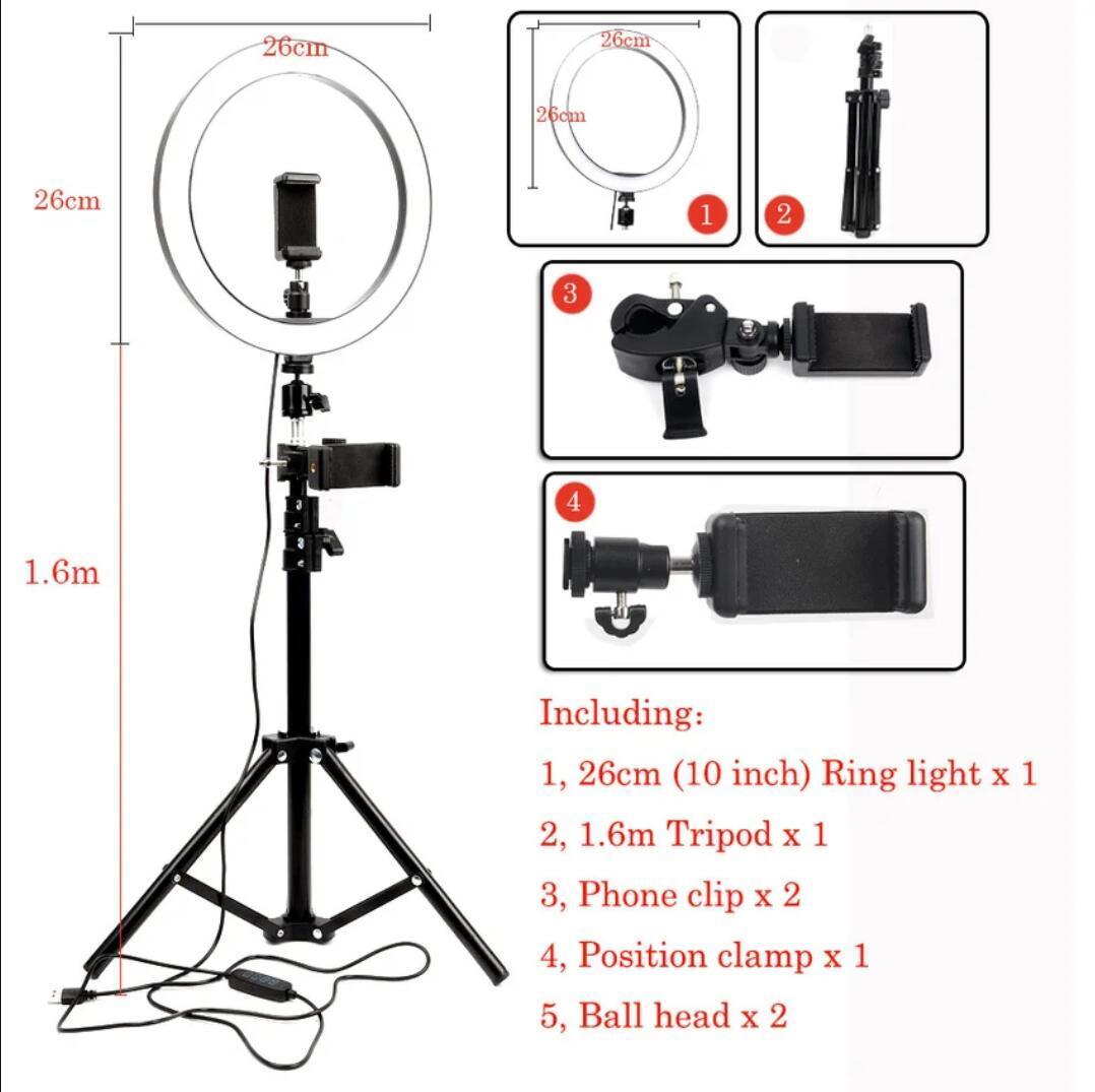 1.6 삼각대 전화 홀더와 유튜브 메이크업 셀카를위한 26cm LED 링 루프 등 사진 스튜디오 카메라 비디오 채우기 빛