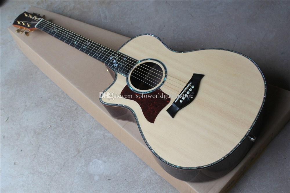 Ebony Fretboard Sólidos Top canhota guitarra acústica com colorido Shell Inlay, Golden Tuners, pode ser personalizado