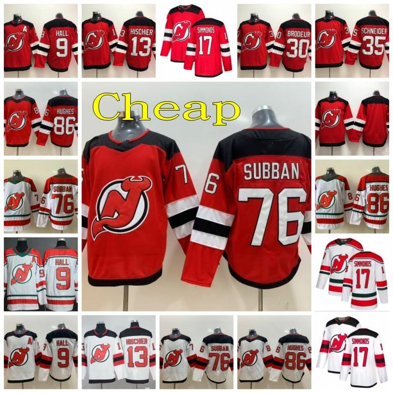New Jersey Devils Hockey 76 PK Subban Jersey 13 Nico Hischier 30 Martin Brodeur 35 Cory Schneider 86 Jack Hughes Taylor Pasillo Wayne Simmonds