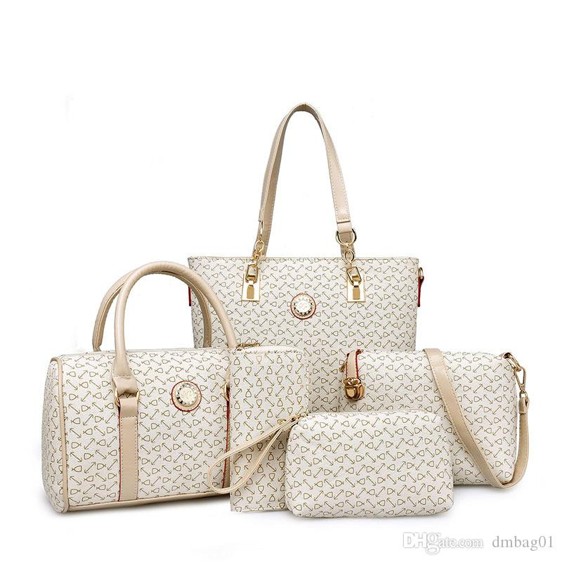 Rosa Sugao Designerhandtaschenfrauen Beutel 5pcs / set Qualitäts-PU-Leder-Handtasche Art und Weise sackt Bote diagonaler Schulterbeutel Tote
