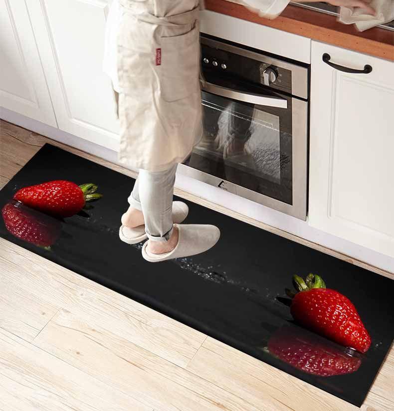 Kırmızı Çilek meyvelerinde Else Siyah Zemin Sigara Mikrofiber mutfak sayacı Modern Dekoratif Yıkanabilir Alan Kilim Mat Kayma Baskı 3d