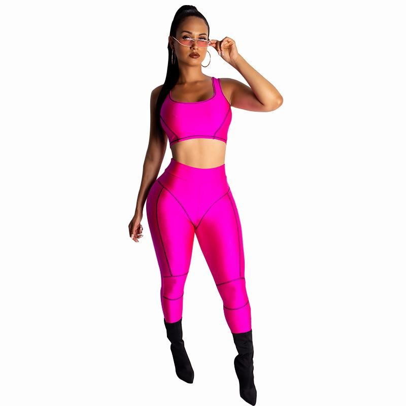 2019 New Neon Color Sporty Tracksuits Women Workout Active Wear High Street Women Sleeveless Crop Tops And Long Slim Pants Set