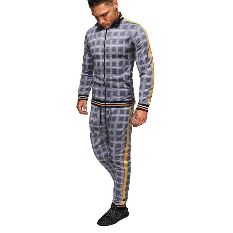 Мужские Tracksuit Мода Плед спортивный костюм Открытый путешествия мода мужчина Два Sets кусок для весны и осени