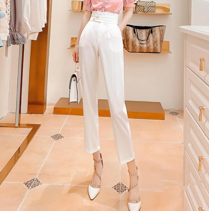2020 Sommer neue koreanische Anzughose weibliche hohe Taille und weise kleine Füße neun Punkte Haremhosen r1118