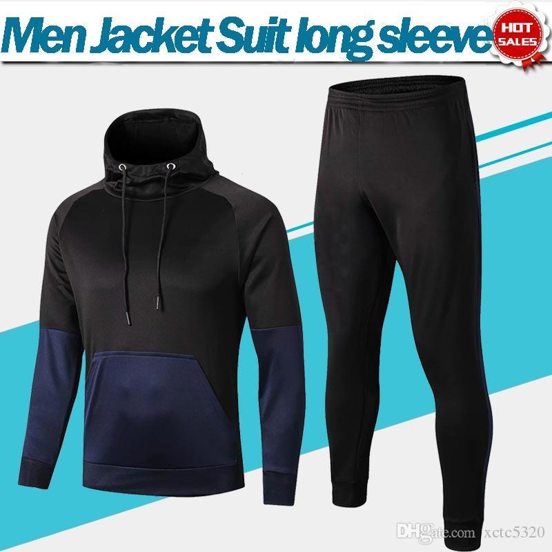 2020 Treino Paris kit de futebol 19/20 Adulto Moletom Com Capuz camisola de futebol de manga comprida preto azul uniformes de Futebol Jaqueta + Calças
