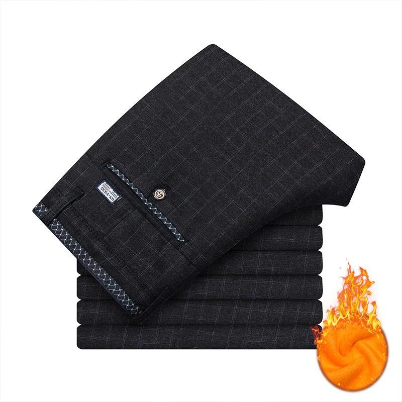 Pantaloni da uomo elasticizzati con scaldano i pantaloni in pile abito di flanella foderato Nero Blu Grigio pantaloni casual invernali