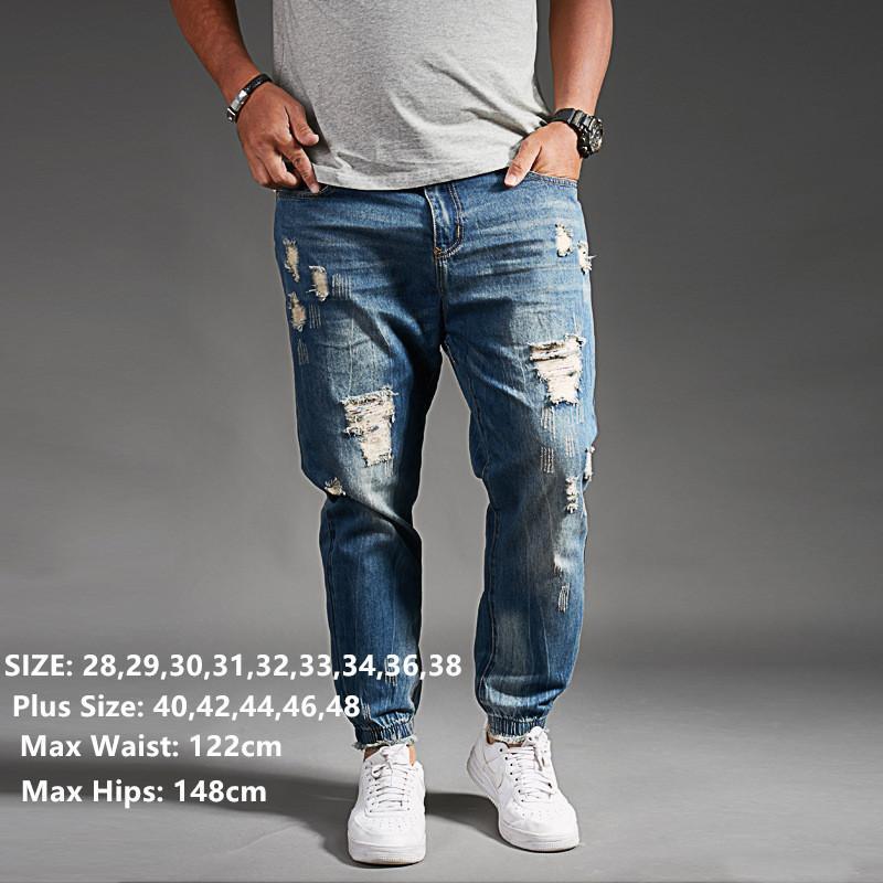 Рваные джинсы для мужчин Синие черные джинсовые мужские джинсы Homme Harem Hip Hop Брюки больших размеров 44 46 48 Мужские брюки Uog Fashions Jogger