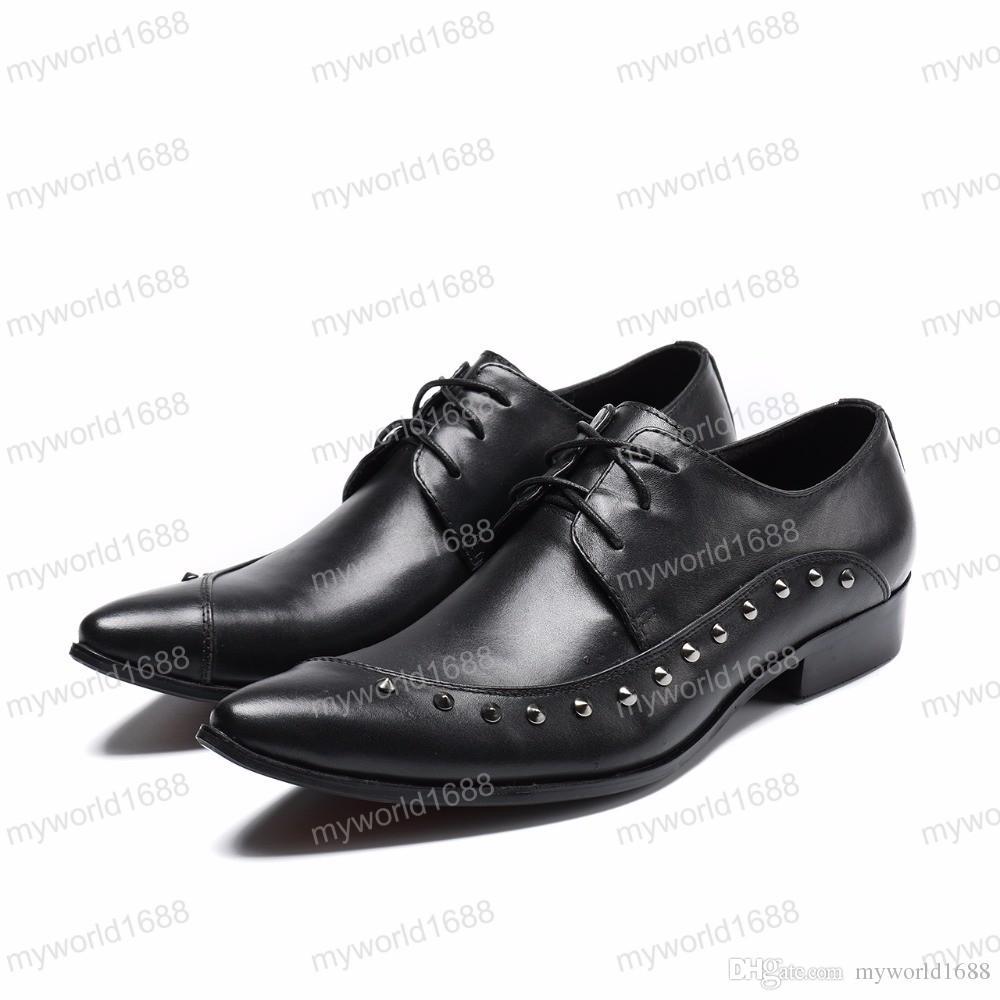 Nuevo estilo italiano zapatos de vestir de los hombres de cuero genuino negro del dedo del pie puntiagudo zapatos del banquete de boda de negocios zapatos formales con remache