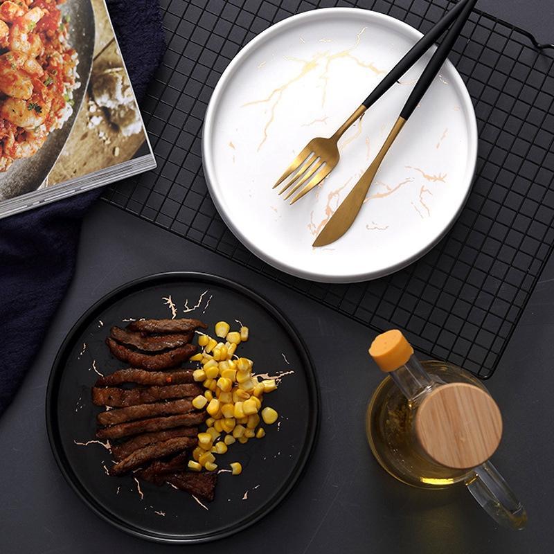 20cm Altın Mermer Seramik Bulaşık Porselen Çatal Seti Mutfak Masa Avrupa Dekoratif Tatlı Steak Plate