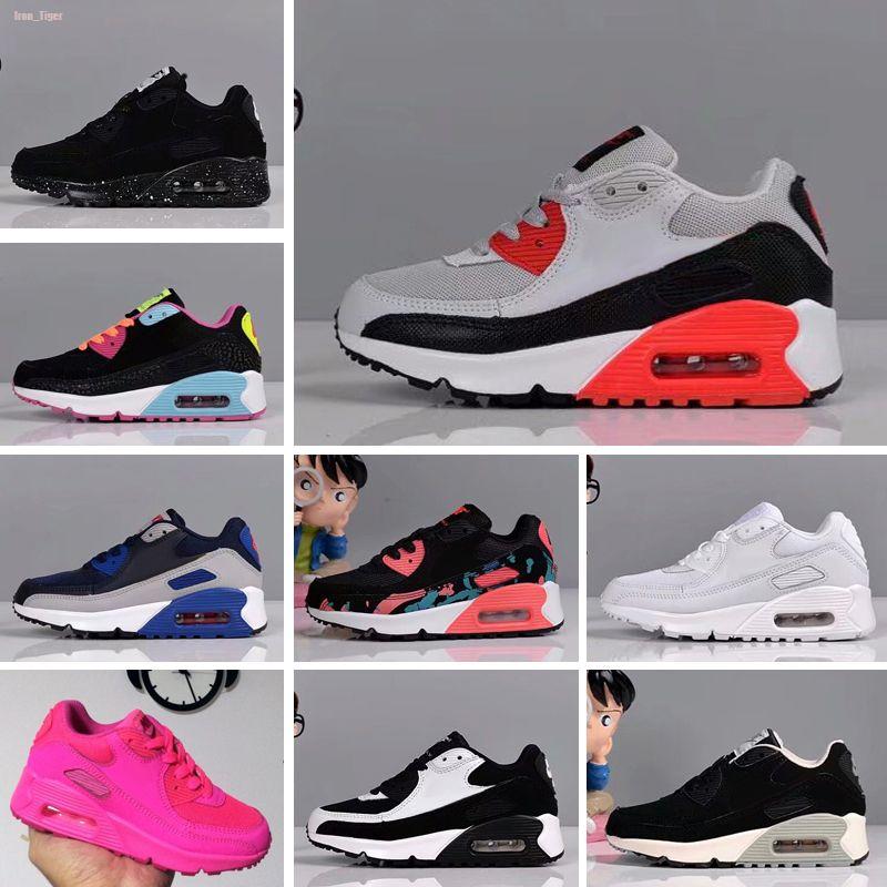 Nike air max 90 Eur 28-35 niños zapatilla de deporte de los zapatos corrientes de los niños zapatos atléticos Negro Negro rosado del bebé infantil de la zapatilla de deporte para