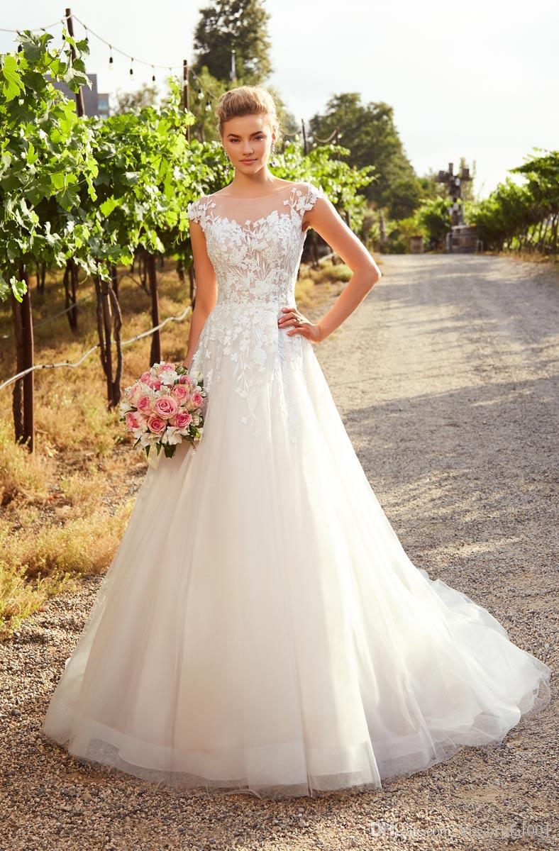 Immagini Abiti Da Sposa.Discount Abiti Da Sposa Corset Wedding Dresses Cap Sleeve A Line
