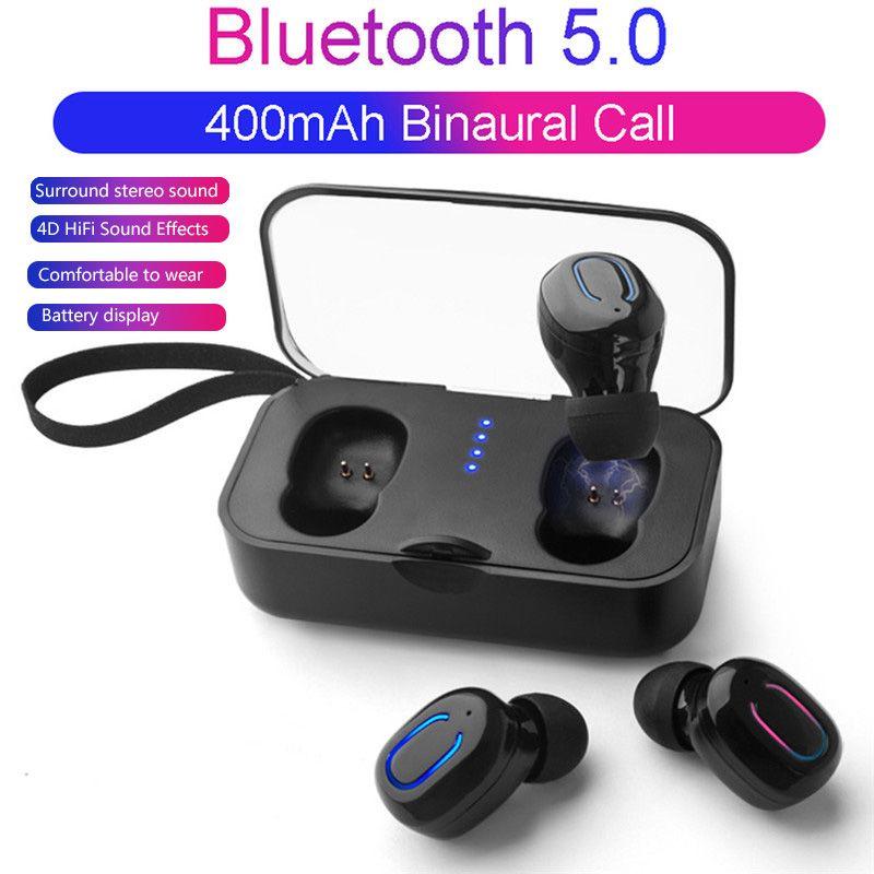 Ti8s Tws Auricular inalámbrico Bluetooth 5.0 auriculares de manos libres de auriculares Deportes Gaming Headset Teléfono 500mAh caso del cargador con el Mic