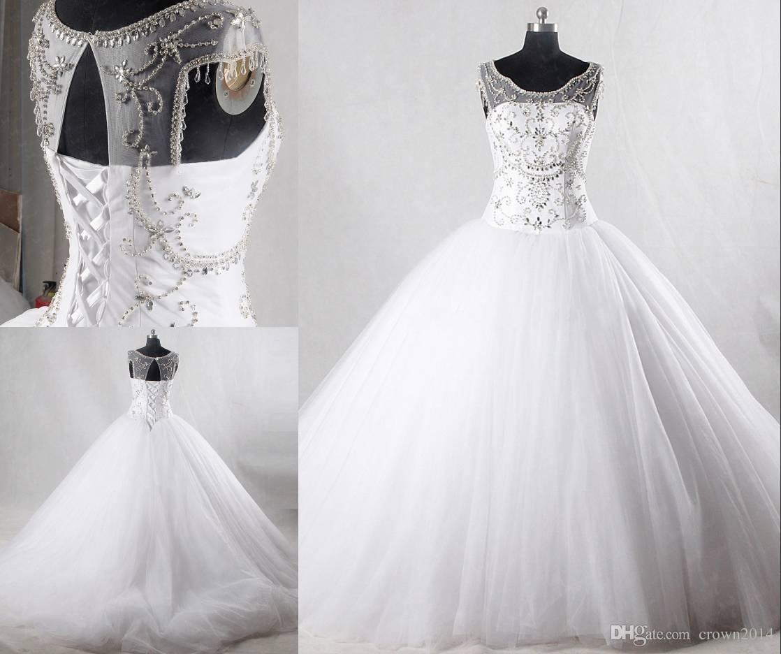 2020 cristais de luxo frisada bola vestidos de casamento vestidos de Pedrinhas Lace-up Voltar vestido de casamento branco Sheer Neck Vestidos De Novia real Imagem