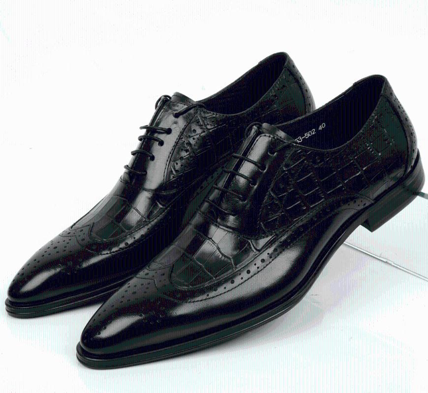 Zapatos de vestir guapo2021 Moda de la moda de la parte baja de la parte superior de la cuero de la piel de los hombres de los hombres cómodos de la piel de los hombres de cuero de encaje puntiagudo 37