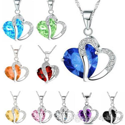 Women Fashion Heart Crystal Rhinestone Silver Chain Pendant Necklace Jewelry 10 Color Collarbone chain sweater chain