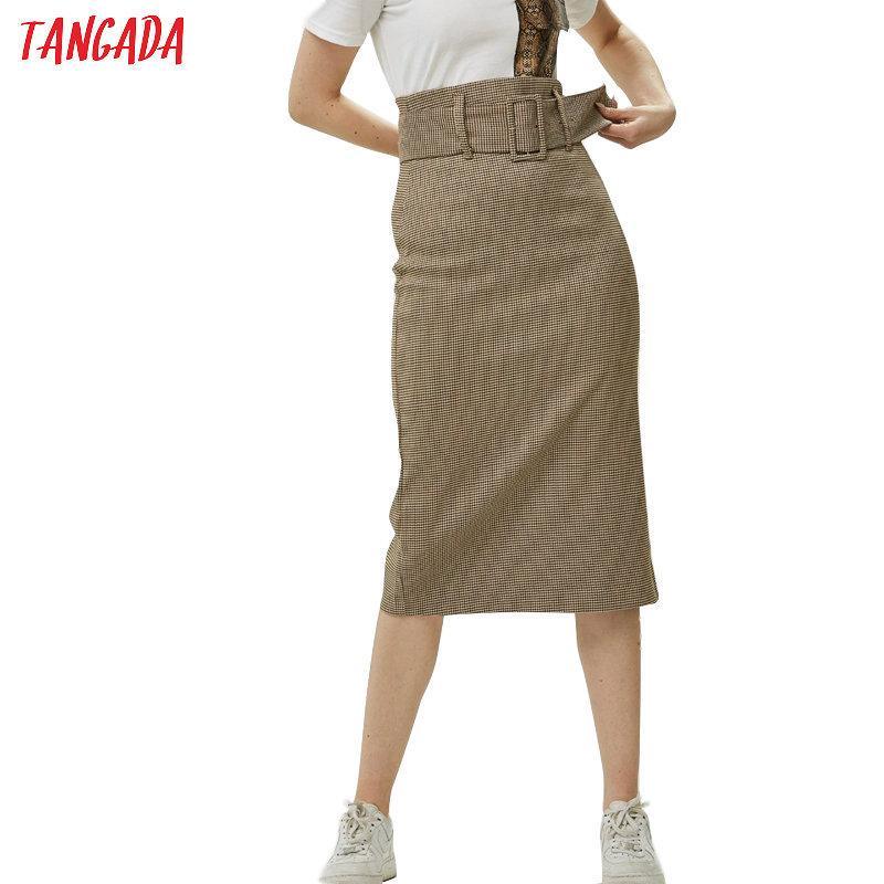 Tangada Art und Weise Frauen Plaidrock Vintage Arbeit Bürodamen mit Gurtrock mujer retro Mitte Wade Rock BE175 V200408