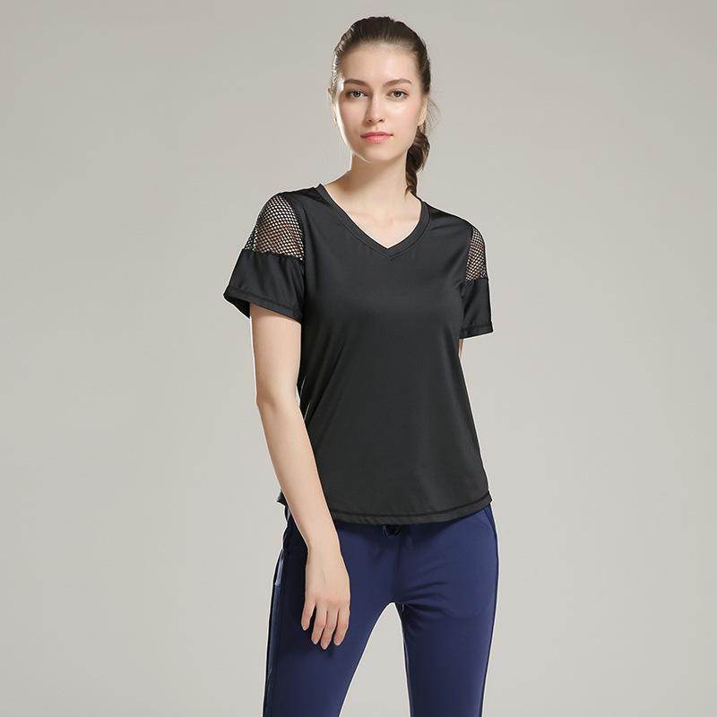 Ginásio mulher Eshtanga manga curta camisa Elastic Yoga malha Sports T camisa das mulheres da aptidão que funciona Preto Tops T Y200106 frete grátis