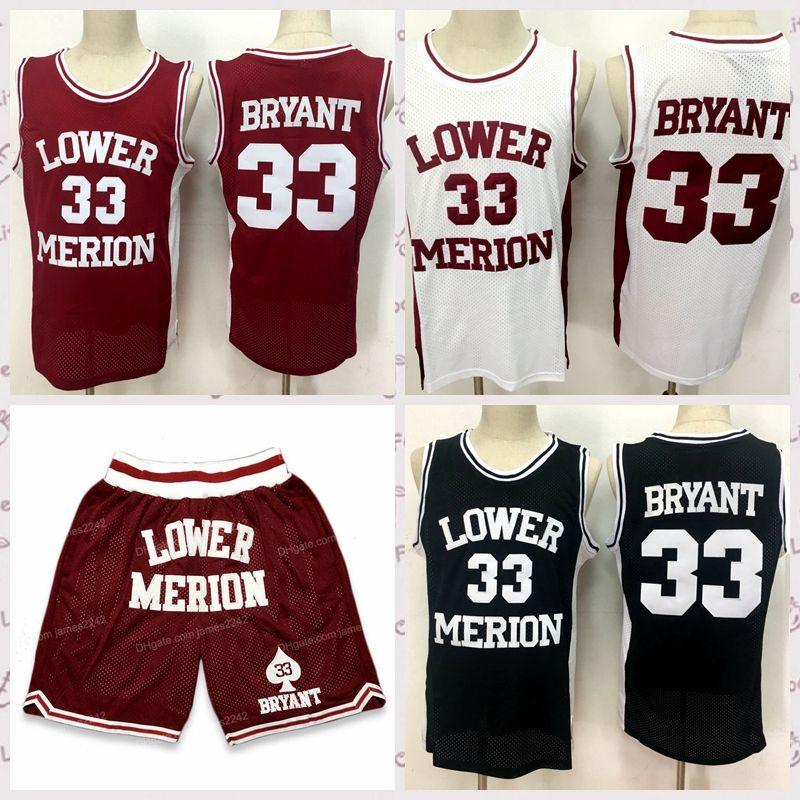 الرجال 33 براينت ميريون السفلى المدرسة الثانوية لكرة السلة السراويل السراويل جيرسي مجموعة كل مخيط أبيض أسود أحمر