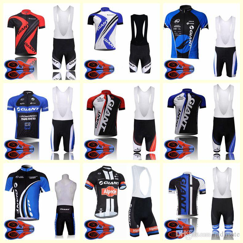 GIANT team Cycling Short Sleeves jersey bib shorts sets bike Summer breathable wear clothing ropa ciclismo 9D gel pad U82005