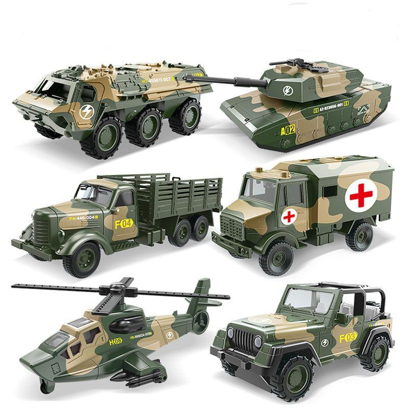 Ling speed simulation pull back car alloy military children's toy car children's aircraft tank armored jeep boy car