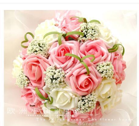 2018 ramo de novia rosa flores con flores hechas a mano de la espuma artificial de Rose de boda Ramos Holding elegante nupcial Rose Flores En Stock