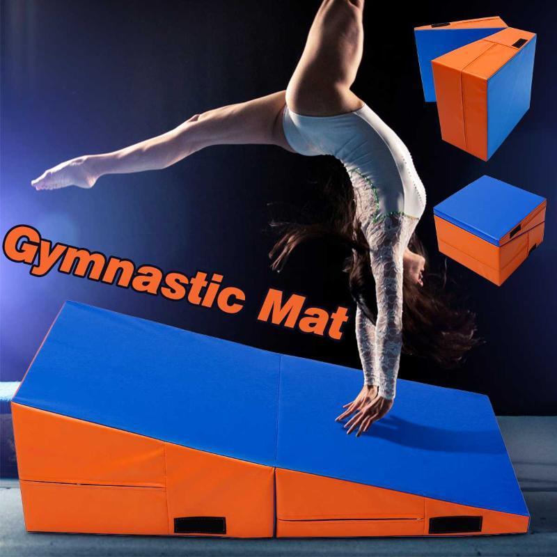Incline plegable colchoneta de gimnasia de la PU de relleno de la espuma que cae Habilidad colchoneta de gimnasia Rampa equipo de la aptitud 3 tamaños de ejercicio seguro