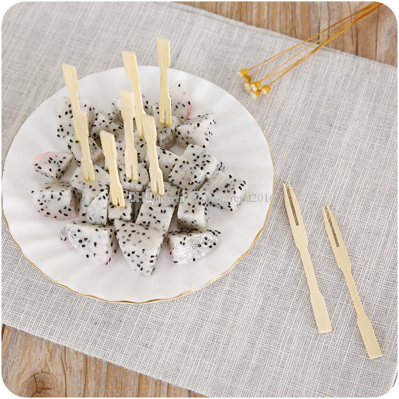 일회용 대나무 과일 포크 바베큐 뷔페 스틱 음식 피클 파티를위한 컵케익 toppers 파티 주방 도구