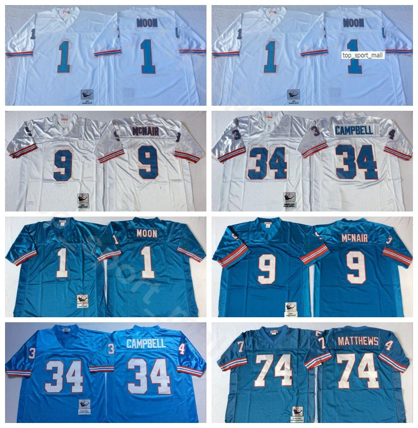 NCAA Football 34 Earl Campbell Jersey 1 Warren Moonn 9 Steve McNair 74 Bruce Matthews 78 Culey Culp Blue White Herren Vintage