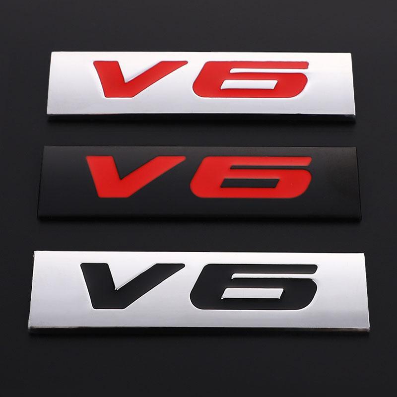 سيارة ملصق شعار شارة V6 الخلفية الشارات ذيل الجذع ملصق