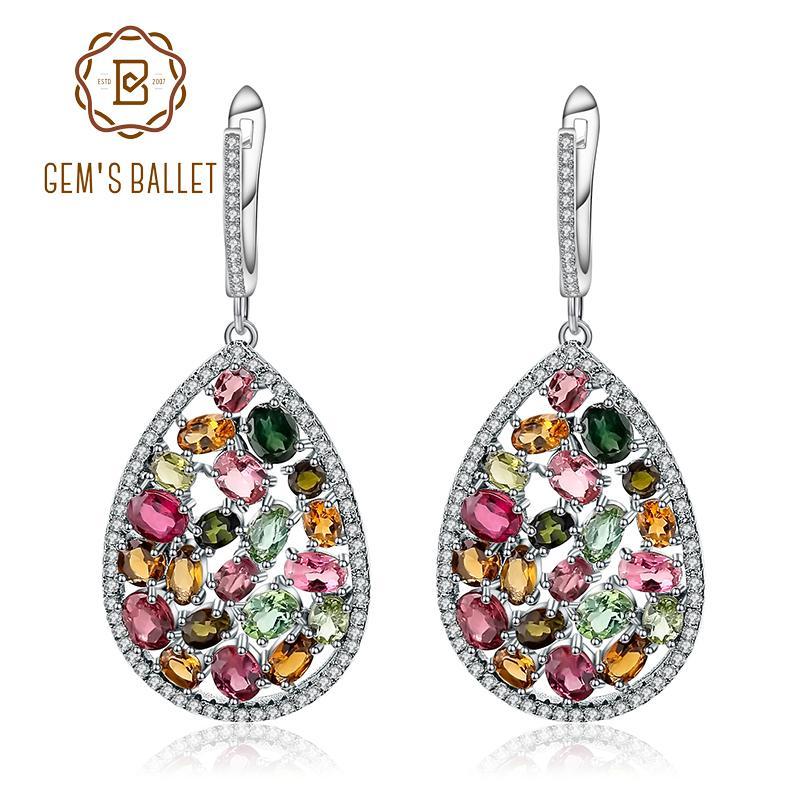 BALLET DE GEM 10.95Ct colorido Naturales turmalina piedras preciosas pendientes gota 925 Moda joyería fina para las mujeres CJ191203