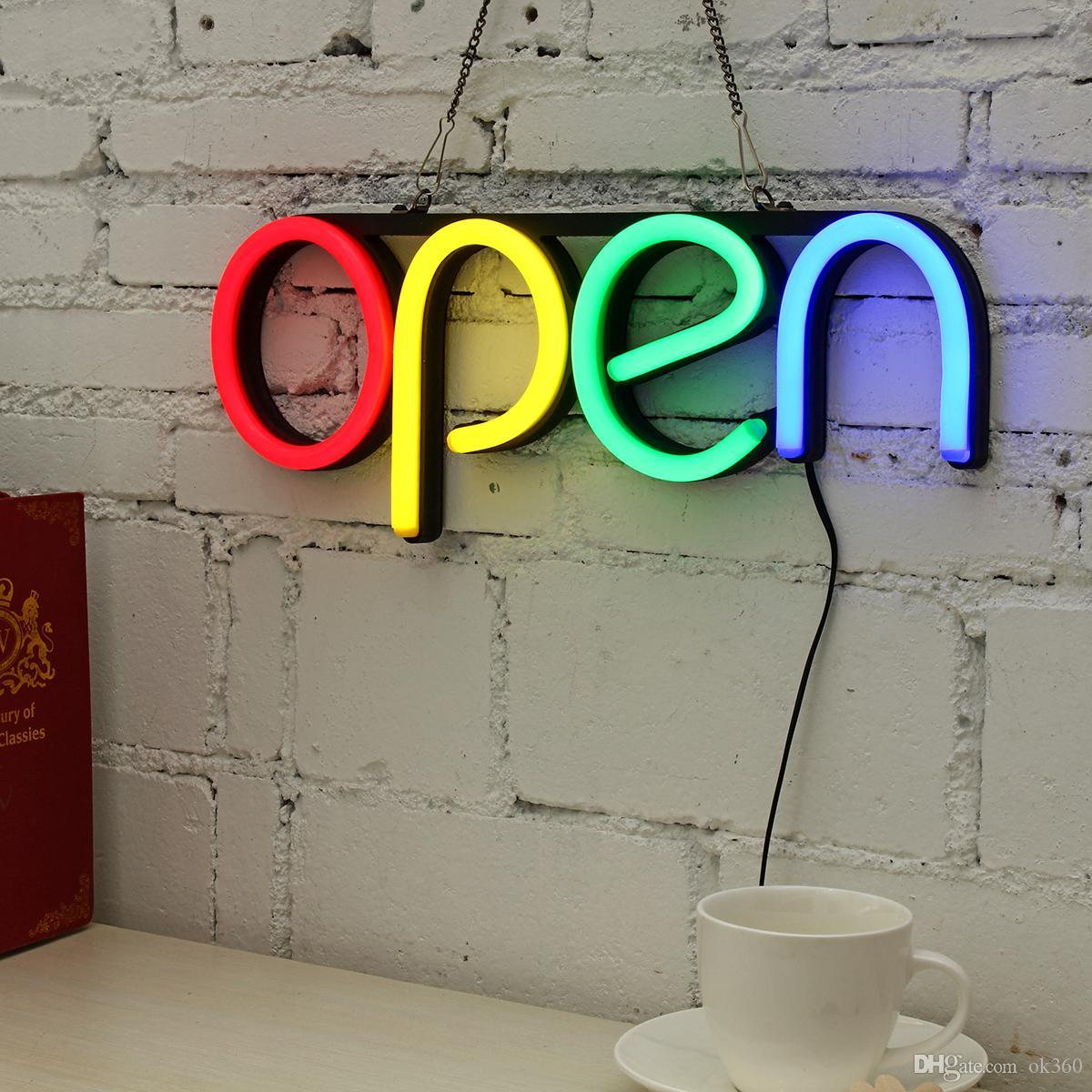 Per porte e finestre Led Decorative Visualizzazione Segno lampada ultra luminosa Store Restaurant parete Artwork catena appesa luce al neon Bar Aperto
