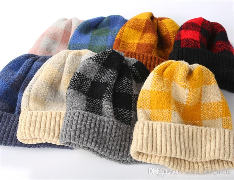 2019 New Children's Knitted Hats Autumn and Winter Parent-child Warm Hat Warm Tone Lattice Stripes