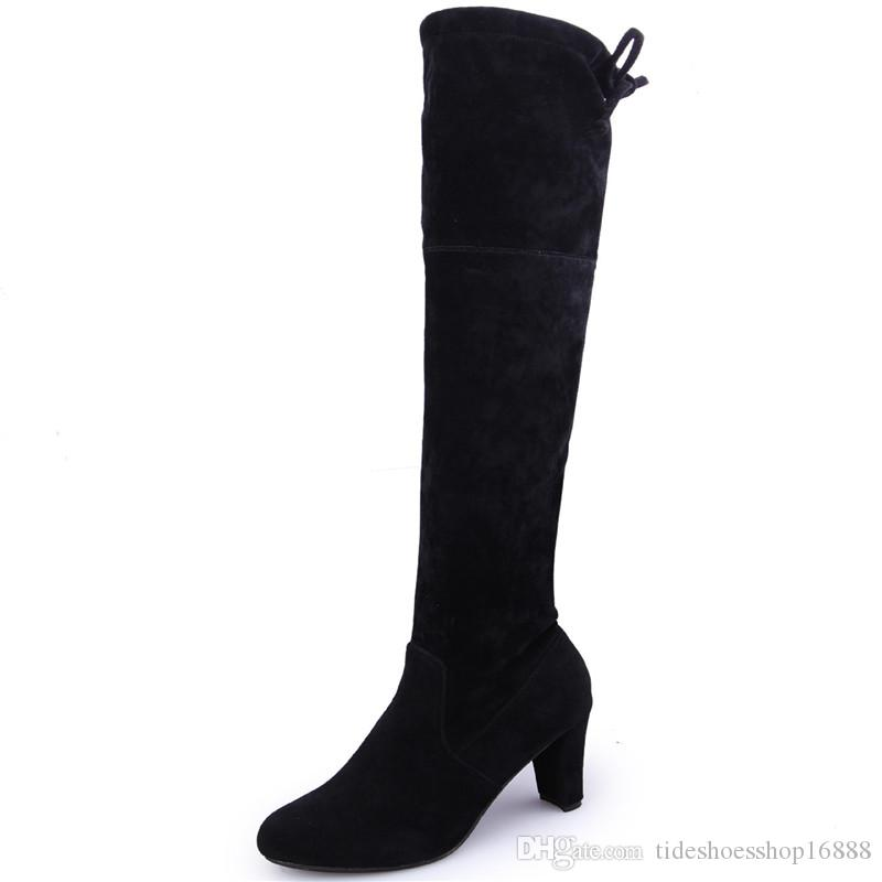 Size 34-43 Over The Knee Boots Heels 8cm Elastic Suede Boots Autumn Winter Women Shoes new Sexy Thigh High Boots Botas Invierno Mujer