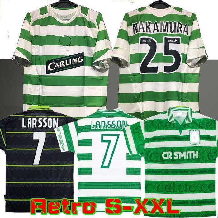 1995 97 1998 1999 Celtic HOME Trikots Retro Fußball 95 96 97 98 99 Fußballhemden LARSSON Sutton NAKAMURA KEANE schwarz Sutton 2005 06