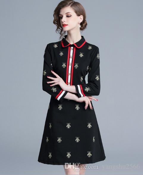 Robes Femmes Printemps Automne manches longues revers du cou noir lambrissés Abeilles Robe broderie piste de Milan Office Lady A-Line Plus Size Robes