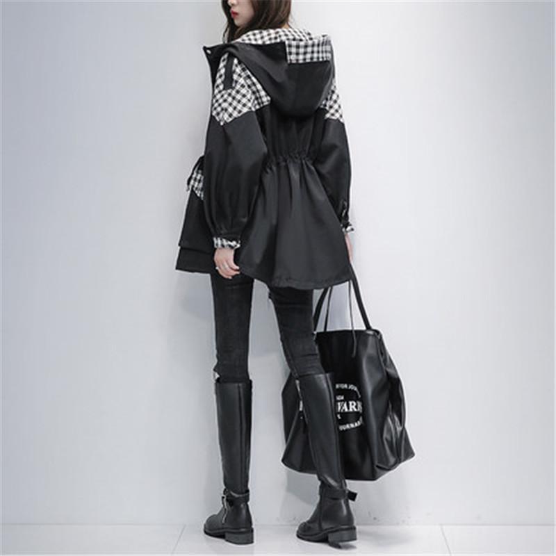 Costura vintage para mujer de mediana longitud de las mujeres 2020 primavera otoño nuevo estilo coreano temperamento fino capucha con capucha con capucha G512
