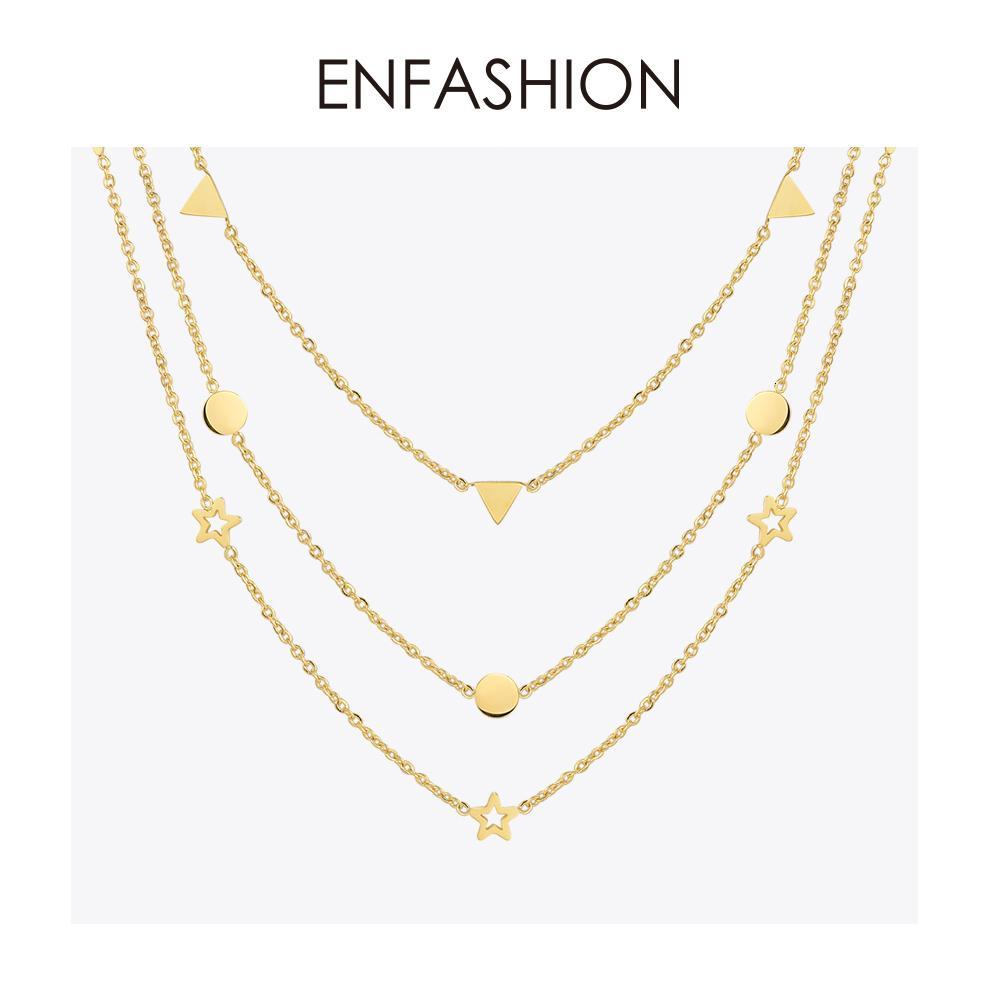 Enfashion Geometrisches Dreieck Kreis-Stern-Halskette Farbe Gold Halsketten-Anhänger Edelstahl-Halskette Frauen chocker V191129