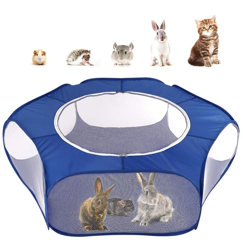 Small Animals Playpen Breathable & Waterproof Small Pet Cage Tent with Zippered Cover Portable Outdoor Yard Fence