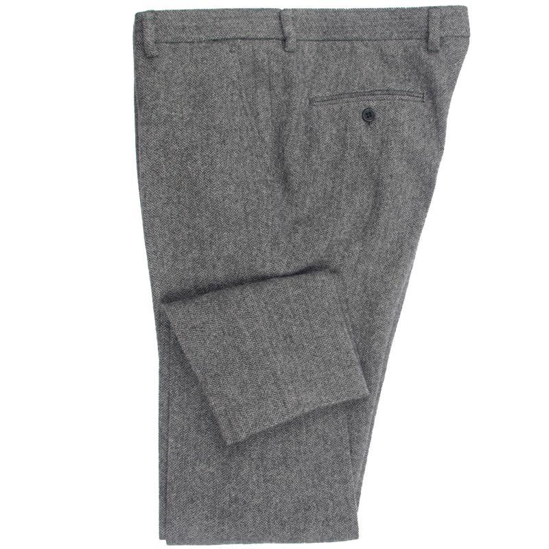 Men's Suits & Blazers 2021 Heavy Warm Wool Blend Pants Tailor Made Dark Grey Herringbone Men Slim Fit Business Dress Winter