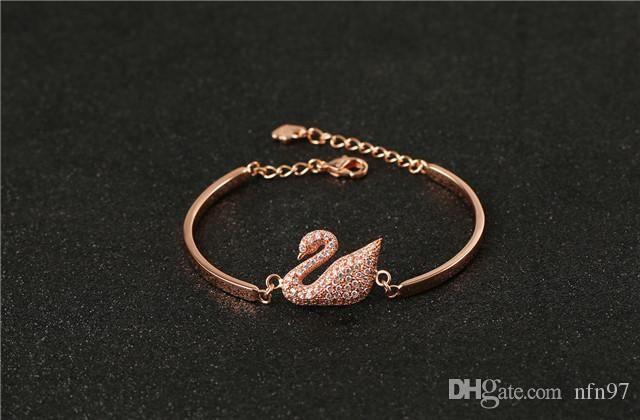 cygne incrusté de diamants plaqué or rose 18 carats d'or simple punk chaque couple bracelet évidé argent coeurs incrustés de diamants bracelet