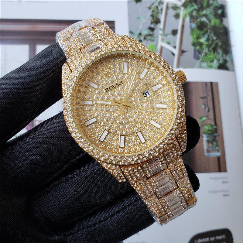 relogio masculino Алмаз мужские часы мода черный циферблат календарь золотой браслет складной Застежка мастер мужской 2020 3A подарки пары де