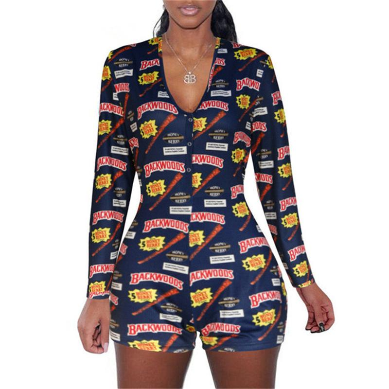 Calças Floral Macacão manga comprida Bodycon Clubwear manga comprida Bodysuit Romper curtas de Moda Jumpsuit Mulheres