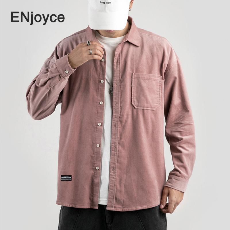 2020 Primavera Autunno qualità velluto a coste Maniche lunghe rosa retrò shirt intelligenti shirt casual per uomo comodi abiti da uomo