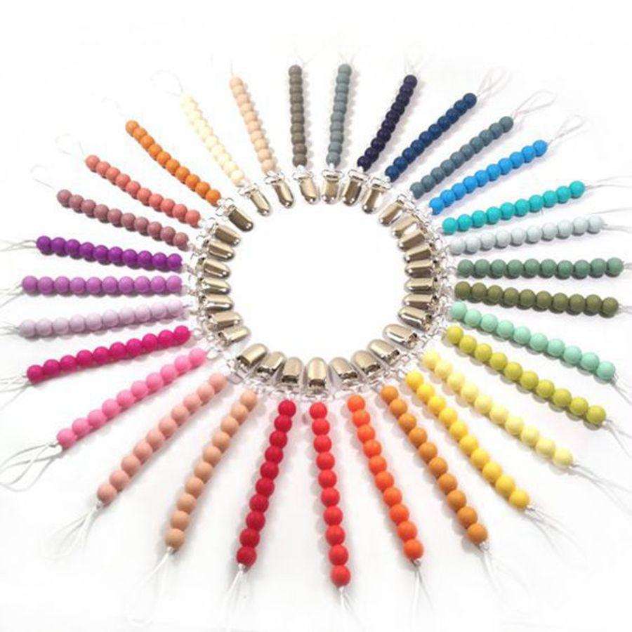 33 colori per bambini in silicone perlina titolarizzatore ciuccio titolari neonato ciuccio catene ciuccio clip baby dentizione titolare del capezzolo baby masticare giocattoli RRA3227