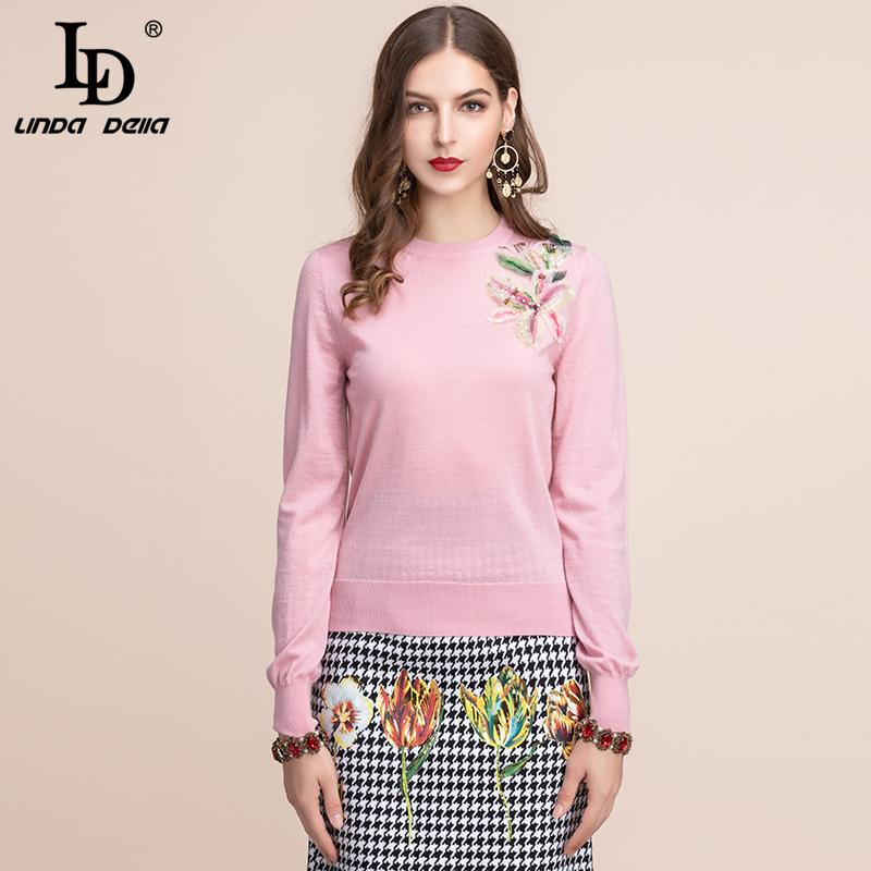 Women's Sweaters LD LINDA DELLA Autumn Fashion Runway Pullover Long Sleeve Flower Appliques Elegant Ladies Knitted Sweater Wool Tops