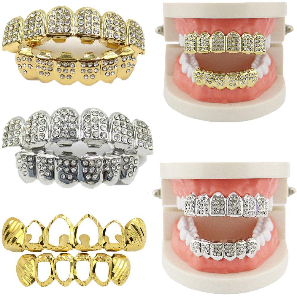 Gold Plated Hip Hop Grillz Teeth Top/Bottom Grill Set NEW HIGH QUALITY Jewelry