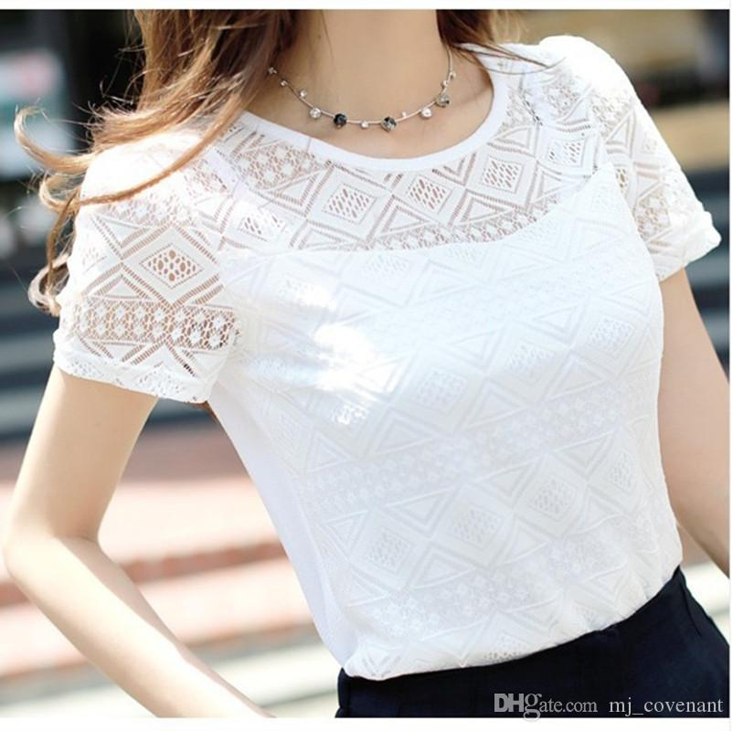 womens designer t shirts Women Hollow Out Short Sleeve Blouses Lace Chiffon Shirts Casual Ladies Blusas Tops womens designer clothing